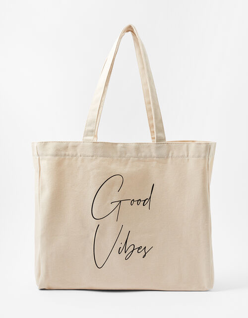 GOOD VIBES Slogan Shopper Bag, , large