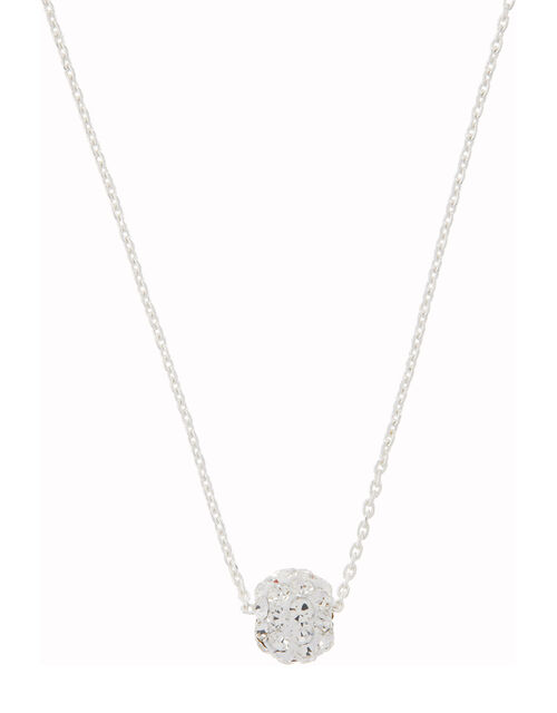 Sterling Silver Pave Ball Necklace, , large