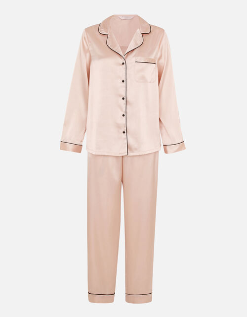 Satin Full Length Pyjama Set, Pink (PINK), large