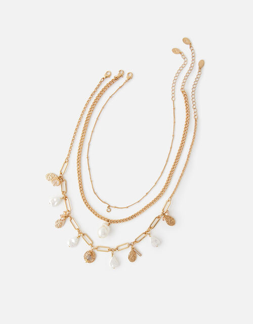 Pearly Layered Necklace Set, , large