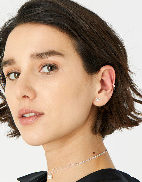 Sterling Silver Link Ear Cuff, , large