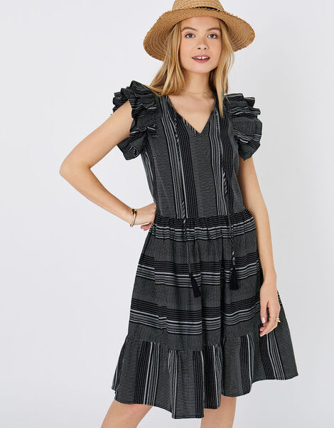 Frill Shoulder Dress in Pure Cotton Black, Black (BLACK/WHITE), large