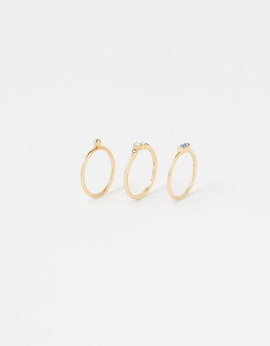 Baguette Gem Ring Set Blue, Blue (BLUE), large