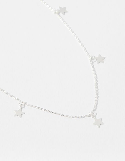 Sterling Silver Star Station Necklace, , large