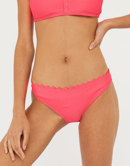 Ribbed Bikini Briefs with Scalloped Edge, Pink (PINK), large