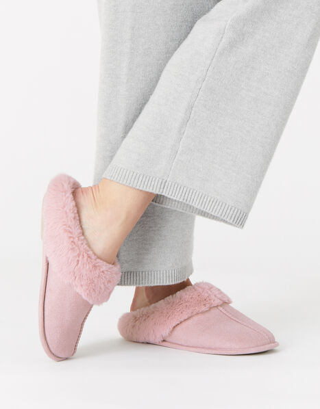 Suedette Mule Slippers Pink, Pink (PINK), large