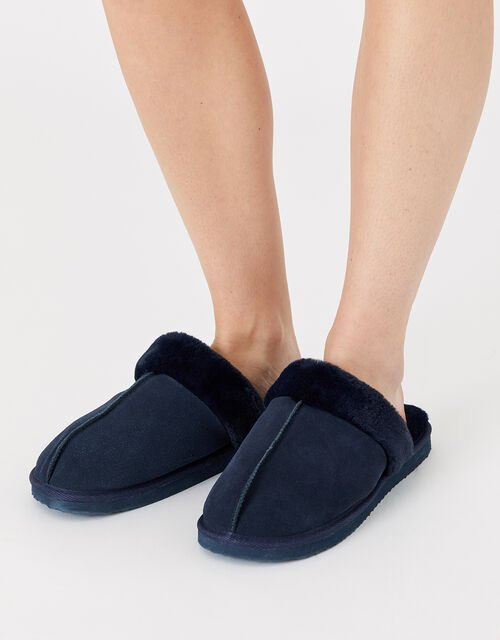 Suede Mule Slippers, Blue (NAVY), large