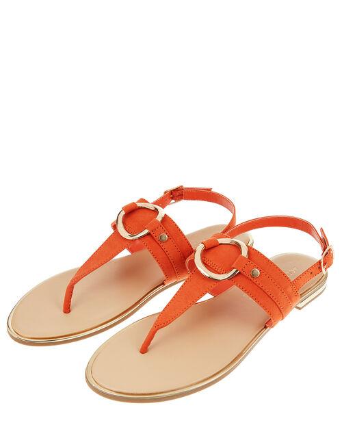 Ring Detail Sandals, Orange (ORANGE), large