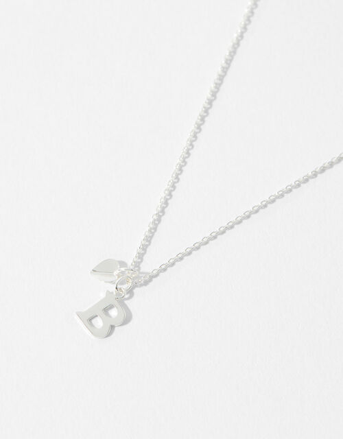 Sterling Silver Heart Initial Necklace - B, , large