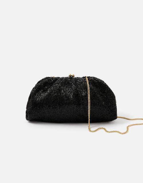 Beaded Shimmer Clutch Bag, Black (BLACK), large
