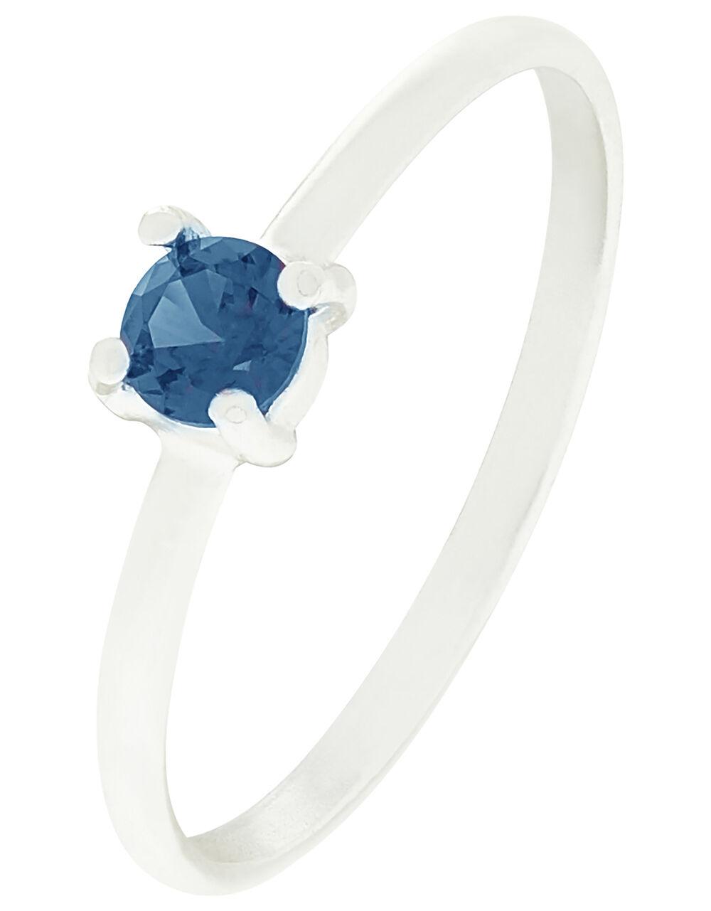 Sterling Silver Gem Stacking Ring, Blue (BLUE), large