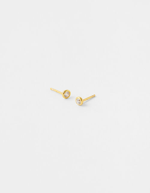 Gold-Plated Bezel Crystal Studs, , large