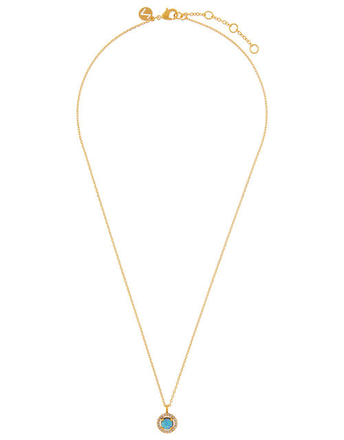 Gold-Plated Stone Pendant Necklace, , large