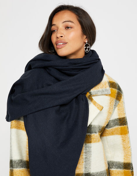 Wells Blanket Scarf Navy, , large