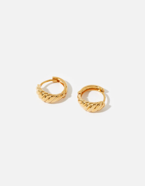 Gold-Plated Chunky Twisted Earrings, , large