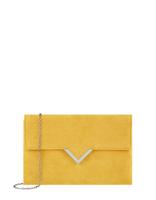 Natalie Suedette Clutch Bag, Yellow (OCHRE), large
