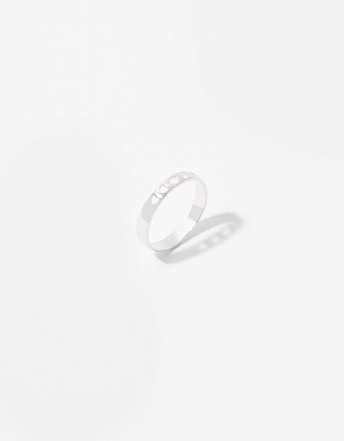 Sterling Silver Moon Phase Ring, Silver (ST SILVER), large