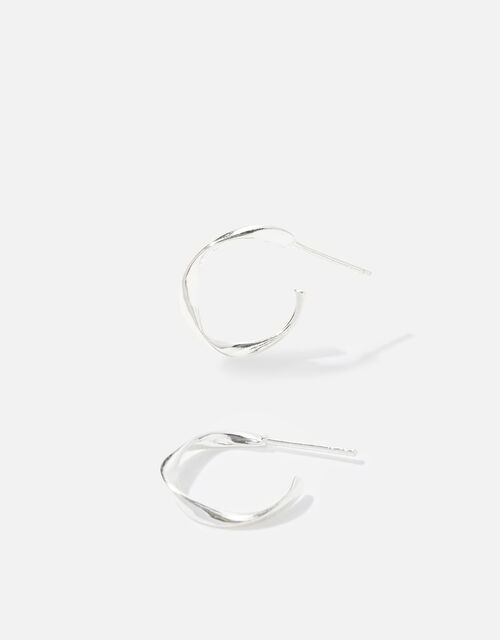 Sterling Silver Twist Hoops, , large