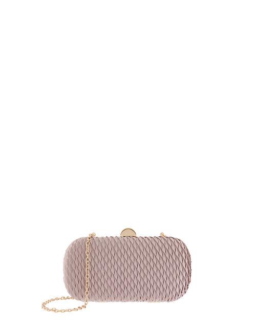 Bella Pleated Hardcase Clutch Bag, Mink (MINK), large