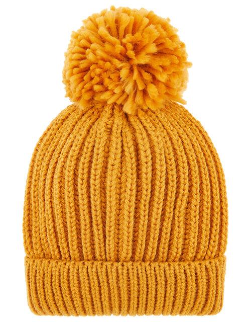 Chunky Knit Pom-Pom Beanie Hat, Yellow (OCHRE), large