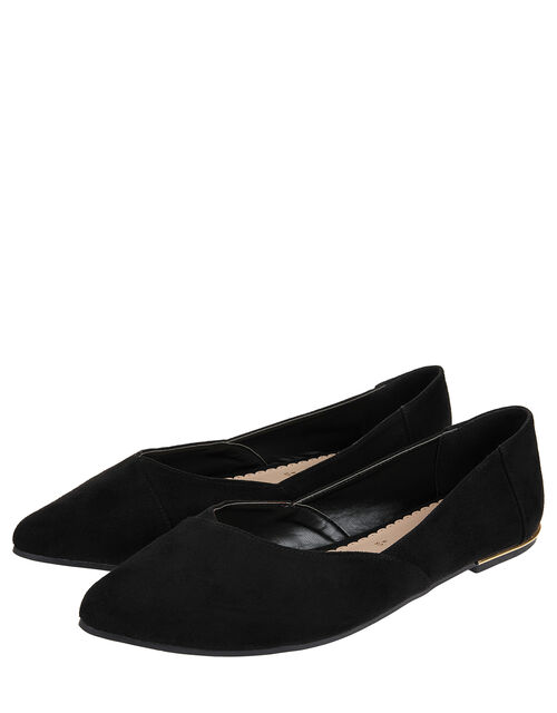 Pointed Ballerina Flats, Black (BLACK), large