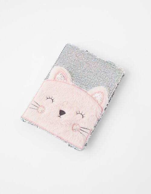 Cat Fluffy Sequin Notebook, , large