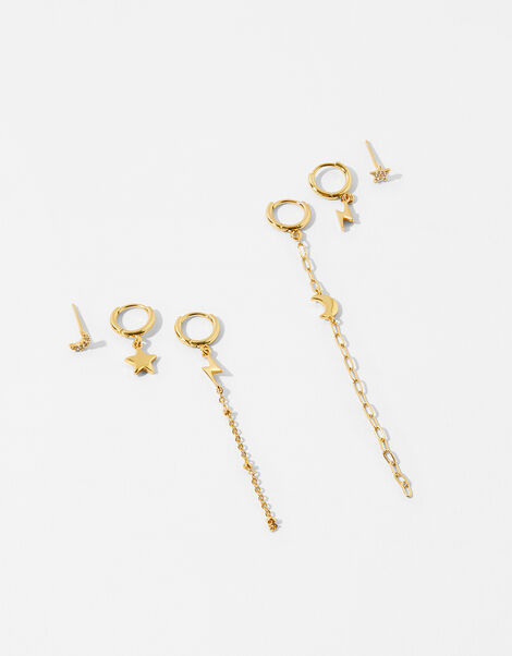 Gold-Plated Celestial Irregular Earring Set, , large