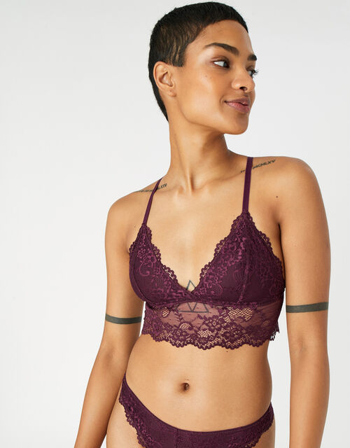 Strappy Lace Bralet, Red (BURGUNDY), large