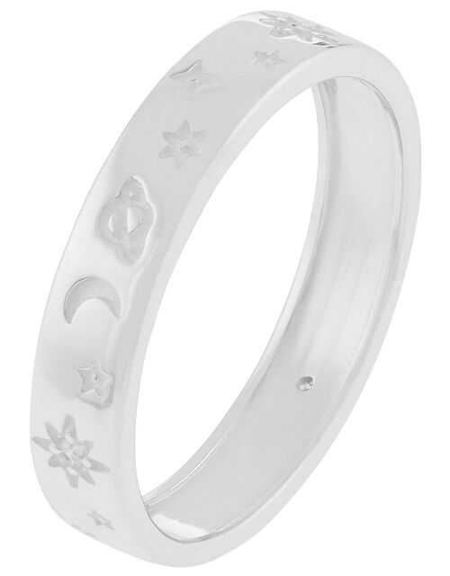 Sterling Silver Sparkle Moon Band Ring, Silver (ST SILVER), large