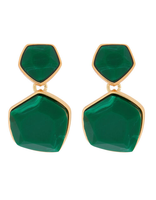 Organic Stone Mini Drop Earrings, Green (GREEN), large