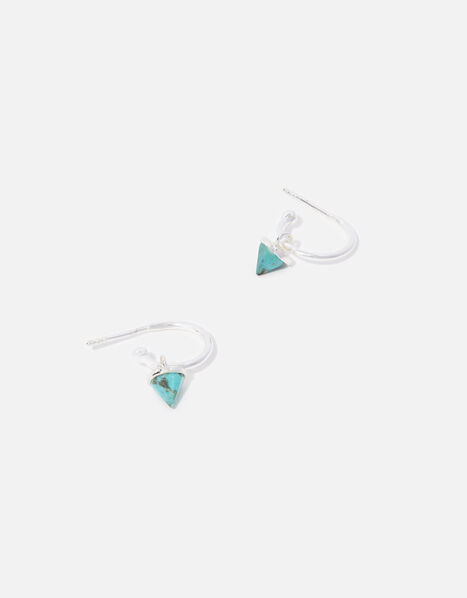 Sterling Silver Healing Stone Turquoise Hoops, , large