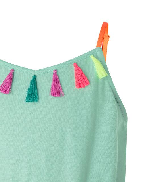 Coloured Tassel Jersey Playsuit, Multi (BRIGHTS-MULTI), large