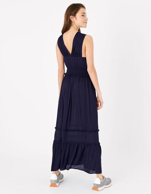 High V-Neck Jersey Maxi Dress, Blue (NAVY), large