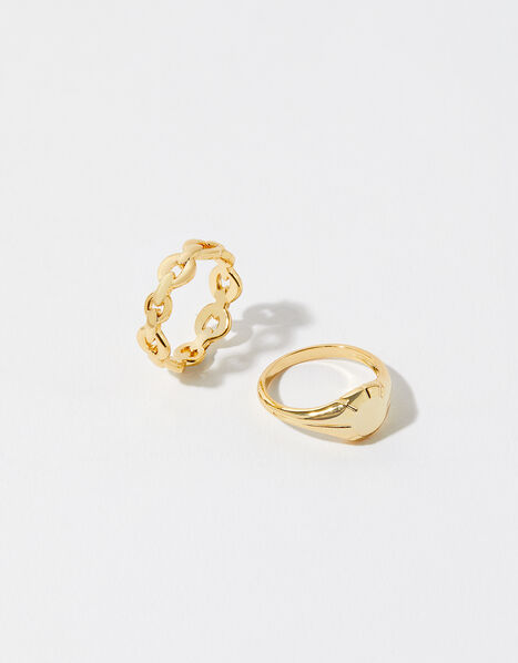 Gold-Plated Signet and Chain Ring Set Gold, Gold (GOLD), large