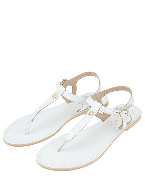 Seashell Charm Leather Sandals White, White (WHITE), large