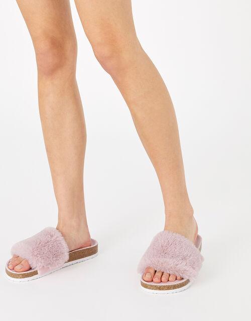 Fluffy Slider with Cork Base, Pink (PINK), large