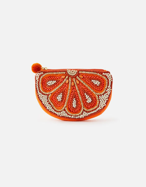 Embellished Orange Coin Purse, , large