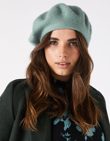 Beret Hat in Pure Wool Teal, Teal (DUCK EGG), large