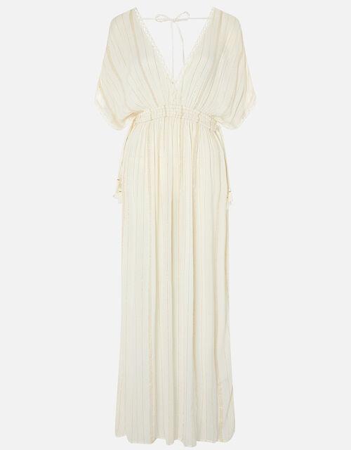 Metallic Maxi Kaftan Dress, Cream (CREAM), large
