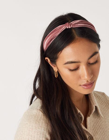 Slim Velvet Knot Headband Pink, Pink (PINK), large