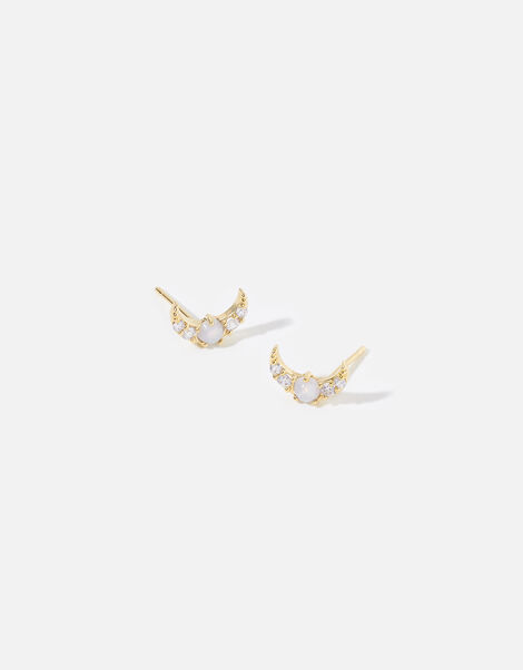 Statement Moon Stud Earrings, , large