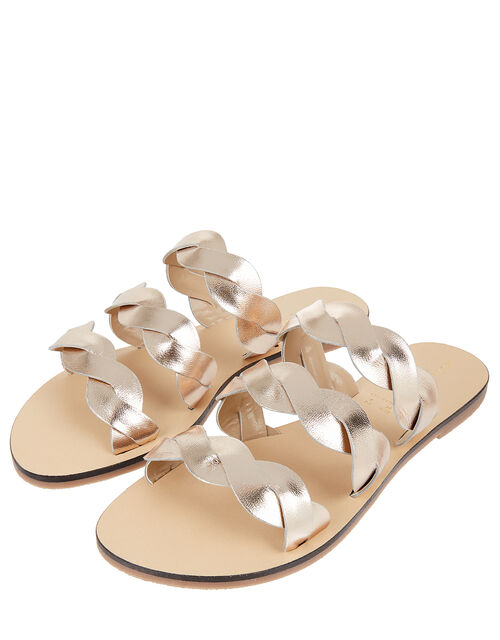 Metallic Leather Twist Sandals, Metalic (METALLICS), large