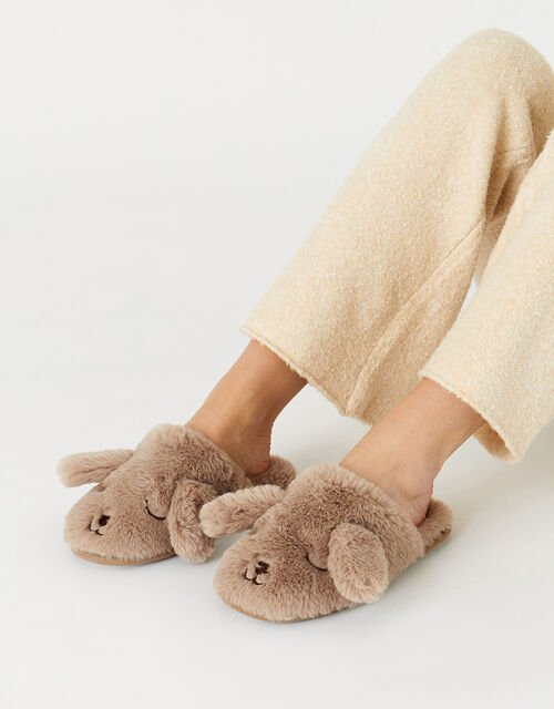 Puppy Fluffy Mule Slippers, Tan (TAN), large
