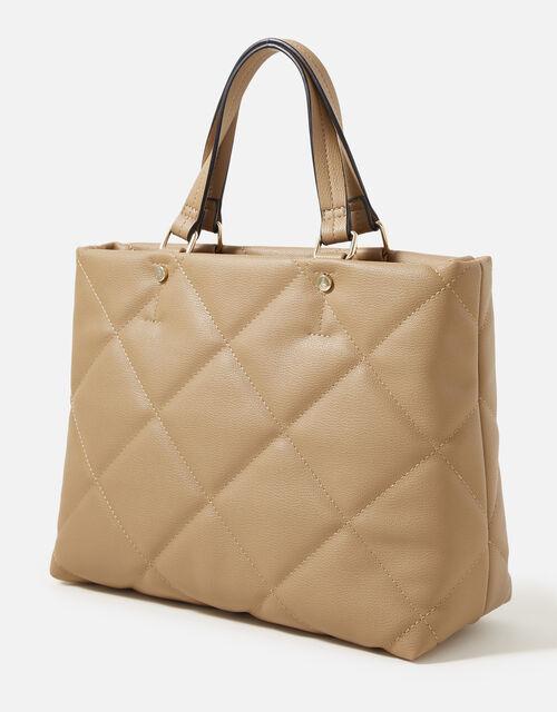 Kayleigh Quilted Handheld Bag , Camel (CAMEL), large