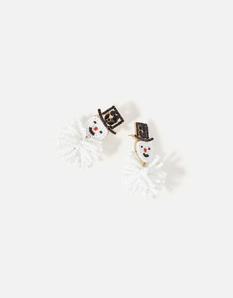 Beaded Snowman Earrings, , large