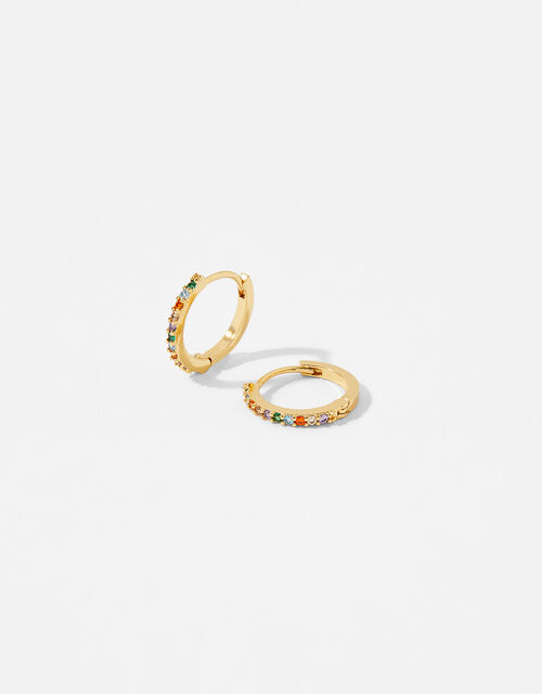 Gold-Plated Rainbow Huggie Hoops, , large