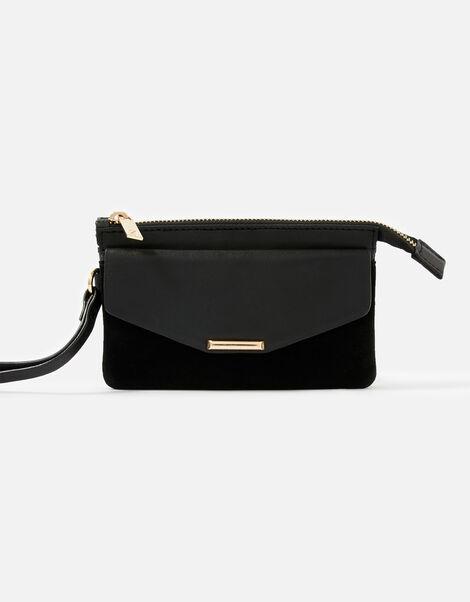 Wristlet Leather Wallet Black, Black (BLACK), large