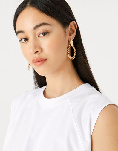Reconnected Chain Front Face Hoops , , large