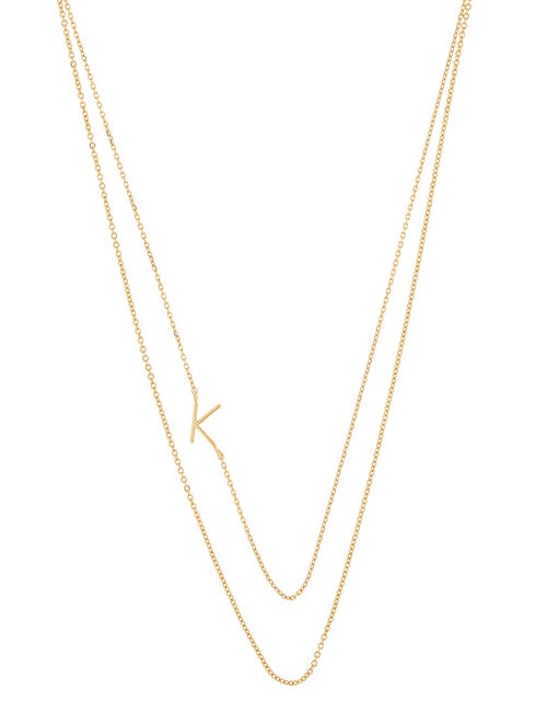 Gold-Plated Double Chain Initial Necklace - K, , large