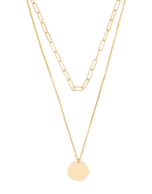 Layered Disc Necklace, , large